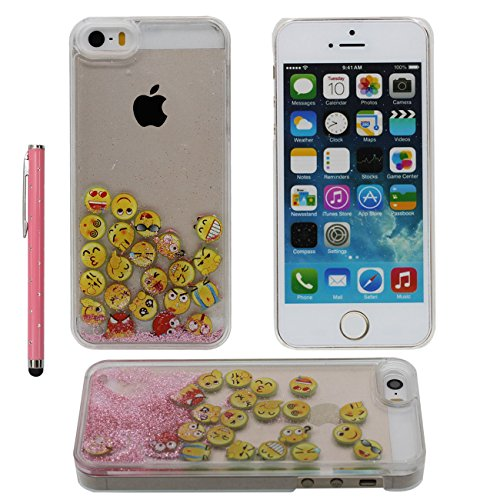iPhone SE Case Liquide Eau Coque, Transparente Dur Étui Protection avec Écoulement Sable coloré / Emoji intéressant Désign pour Apple iPhone 5 5S SE 5G, Case Avec 1 stylet rose