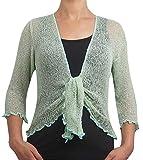 Damen Crochet Strecken Fisch-Netz Boleroshrug Mutterschaft Krawatte an der Taille Cardigan (Eine Größe passt DE 34-48, Mint/Gold)