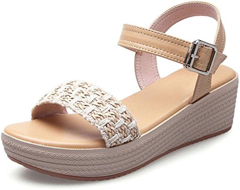 sandalias de las mujeres Palabra de tipo pesado de fondo zapatos abiertos y los zapatos ocasionales cómodos de...