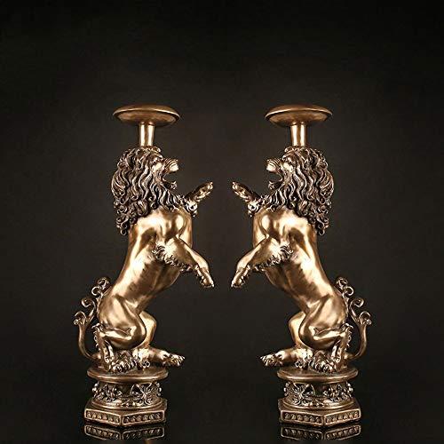 Yikuo Dekorationen -Kupfer Verkleideten Resin Produkte/Kreativ Retro Lion Kerze Modell Raum/Eingangs-Station/Kühl- / Einrichtungsgegenstände Dekoration/Paar Gut gemacht -