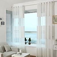 SIMPVALE - 2 piezas Cortina de tul en para ventana, poliéster, blanco, 140_x_240_cm