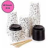 40 Vasos Desechables de Café Para Llevar - Vasos Carton 240 ml 8 Onzas con Tapas y Agitadores de Madera para Servir el Café, el Té, Bebidas Calientes y Frías