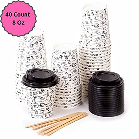 40 Paper Cups Coffee To Go - 8 Onzes Coffee