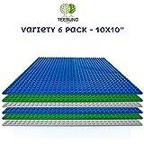 TEESUNG- Lot de 6 Grandes Plaques de Construction - Base Compatible avec Toutes Les Marques Principales - Vert + Gris + Bleu - 25.5*25.5 cm (32*32 goujons)