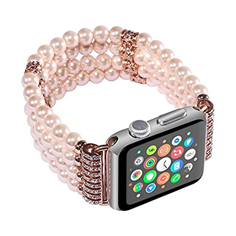 Bead Watch Band, HappyTop 38mm Ladies Young Watchband Replacement Wrist Strap for Apple Watch Series 1/2 (Champagne)