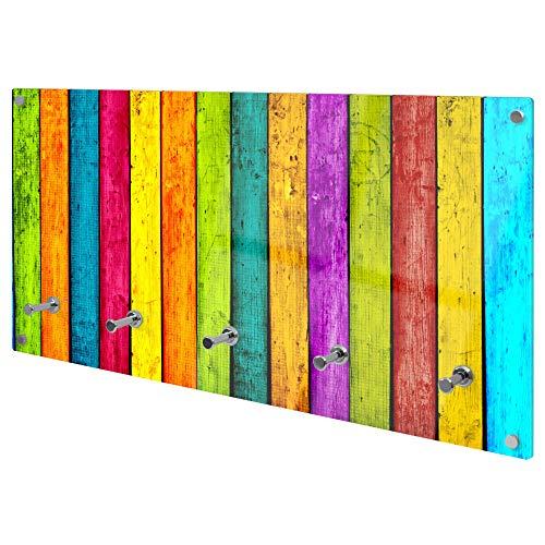 banjado Wandgarderobe aus Echtglas | Design Garderobe 80x40x6cm groß | Paneel mit 5 Haken | Flurgarderobe für Jacken und Mäntel | Garderobenleiste mit Motiv Bunte Holzlatten