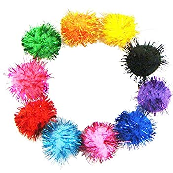 Bipy jouet pour chat doux Balles Chaton Jouets d'intérieur à pompon Boule assortis Couleur aléatoire Lot de 20