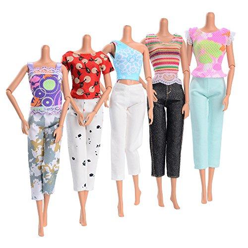 ASIV 5 sets Modisch Waschbar Handgemachte Freizeitkleidung für Barbie Puppen - inkl. 5 Stk T-Shirt Bluse, 5 Paar Hosen, Zufälliger Stil (T-shirts Barbie)