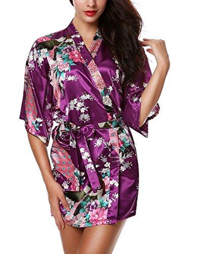 Femminile Kimono Robes Pavone E Fiori Di Raso Biancheria Da Notte Camicia Da Notte Corta Viola scuro
