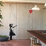 Banksy Ballon Mädchen XL Lebensgröße Wandsticker Wand Schablone - GIRL 112CM HIGH