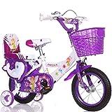 ERTONGZXC Stilvolles Und Einfaches Fahrrad, Junge Und Mädchen Fahren Fahrrad, Persönliches Fahrrad Der Kindheit, 2-9-Jähriges Baby Hilfsradfahrrad Rad,lila,90 cm