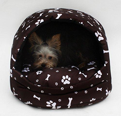Hundehöhle Katzenhöhle Hundehütte Hundehaus Katzenbett Katzenkorb Nr. 3 (Muster: Pfötchen braun) -