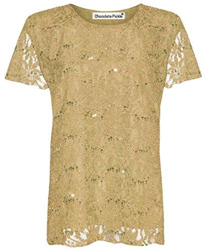 Damen Pailletten Spitze, Flügelärmel, Blumenmuster, aus Spitze, Übergrößen, Tunika 12-26 Gold - Gold