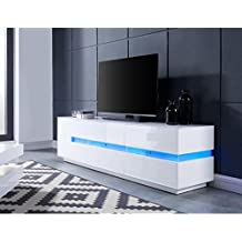 dallas meuble tv avec clairage led 160 cm laqu blanc brillant - Meuble Tv Blanc Laque Led