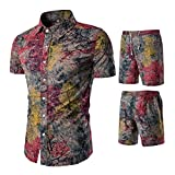 Herren Hemd Beiläufig Kurzarm-Shirt Business Slim Fit Hemdbluse + Boho Drucken Hosen Set Rot XS