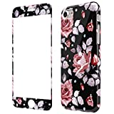 Coque iPhone 8 Fleurs Rose Silicone, Wafly Coque iPhone 7 360 Degres + Protection en...