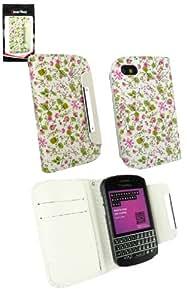 Emartbuy® Blackberry Q10 Luxuxmappen Fall / Abdeckung / Pouch Floral Rosa / Grün Mit Credit Card Slots
