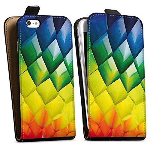 Apple iPhone X Silikon Hülle Case Schutzhülle Rauten Bunt Struktur Downflip Tasche schwarz
