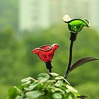 MEIWEI Fiore artificiale in ceramica smaltata LED solare giardino