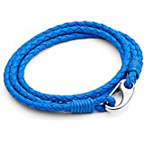 Tribal Steel Neon Double Wrap Leather Bracelet for Men with SS Shrimp Clasp of 21cm