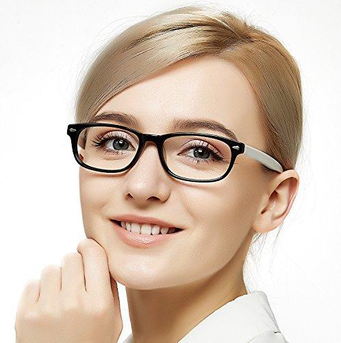 Occi chiari occhiali da vista non graduati rettangolo montatura con spring hinge struttura vetri decorativo trasparente donna unisex