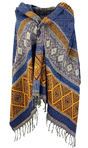 GURU-SHOP, Pashmina Suave Bufanda/mantón, Bufanda, Patrón Incaico Lila/amarillo, Sintético, Tamaño:One Size, 200x90 cm, Bufandas