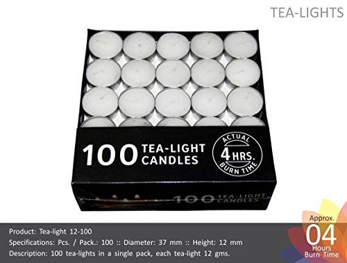Nanki Trades Wax Tea Light Candle (White, Set of 100, 4 Hours...