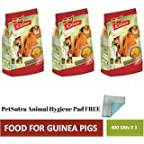 PetSutra Vitapol Karma Food for Guinea Pig, Enriched with Fruits & Vegetables, Contains Natural Fibre (Pack of 3) Combo with PetSutra Animal Hygiene Pad