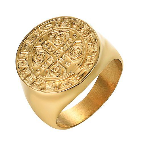 Yoursfs Ring Herren löwe 18 K Vergoldet Ring Lion Siegelring Herr der Ringe Ring (Freimaurer, 60 (19.1))