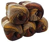 ALIZE 5 x 100 g Strickwolle Mehrfarbig mit Farbverlauf, 500 Gramm Strickgarn mit...