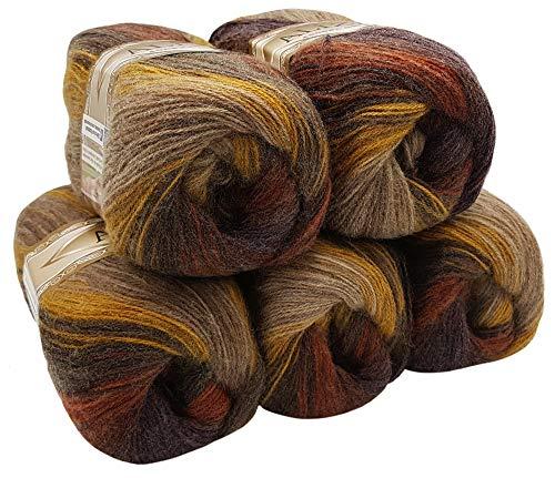 ALIZE 5 x 100 g Strickwolle Mehrfarbig mit Farbverlauf, 500 Gramm Strickgarn mit 20{9f8bf778be43fc9b23862fdf37e277acf87ca19131346dcfe665d66d5bc708fb} Wolle-Anteil (braun beige Ocker 3379)