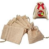 Gudotra 100pz Sacchetti Portaconfetti in Tela Calendario dell' Avvento Bustina Bomboniere Confetti per Natale Matrimonio Battesimo Compleanno Regalo Gioielli