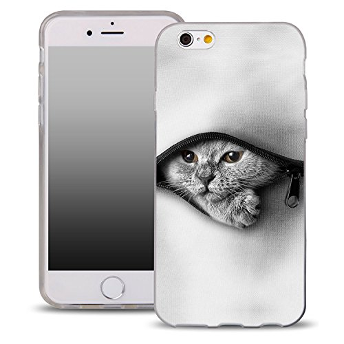 Blitz® MASKE Schutz Hülle Transparent TPU Cartoon Comic iPhone  fliegende Eulen iPhone 6 6s weißes Katzenbaby