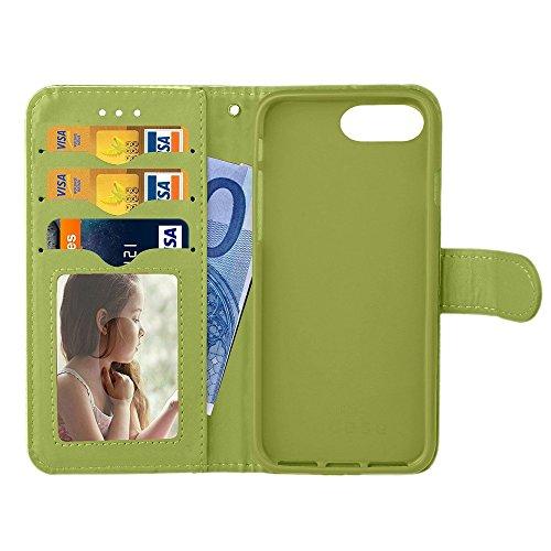 iPhone Case Cover IPhone 7 Plus 亮 面 多彩 相框 + 配色 TPU 插卡 支架 挂绳 IPhone 7 Plus ( Color : Blue , Size : IPhone 7 Plus ) Green