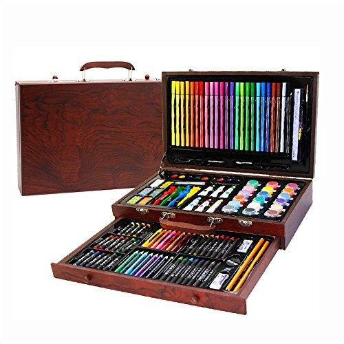 NEWELLYY 123-Piece Art Set, Malen & Zeichnen Set, Zeichnen Schablonen 6-12old Kids, Weihnachtsgeschenk für Jungen & Mädchen Holz Schreibwaren Farbe Blei Pinsel
