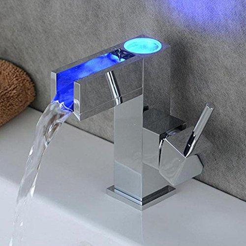 Wasserfall Schublade (sunnymi Hochwertige LED-Spüle Licht Temperatur Kontrolle Farbe Wasserhahn/Badbecken Wasserfall Wasserhahn/Gekennzeichnet Mit Haltbaren Keramischen Ventilen)