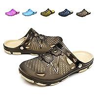 Techcity Unisex Garden Clogs Outdoor Walking Sandals Breathable Sport Slides Summer Non Slip Pool Beach Shower Slippers Shoes Black Size: US 10.5-11