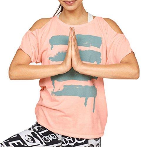 Manadlian - T-shirts,Femmes Blouse Tops Manches Courtes Off épaule Chemise Casual Gilet Sport Femme