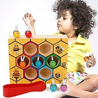 MojiDecor Jouets Montessori en Bois de Ruche d'abeille Jouets Educatifs Amusants Préscolaire pour Les Enfants et Bébé