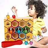 MojiDecor Preschool Bee Hive Wooden Toys, Bee Toy Wooden Bee Game Motor Skills Toys Bee Wooden Toy Early Educational Bee Toys
