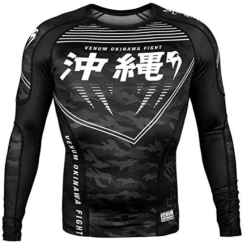 Venum Okinawa 2.0 Rash Guard for Men - Black/White - No-Gi Fitness BJJ Martial Arts Crossfit Gym -l Herren Rashguard