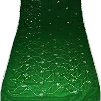 india sari abito vintage giochi d'arte paillettes georgette lavoro utilizzato verde sari drappo