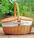 GWDZX Weide Rattan Garten Picknickkorb Eierkorb Geschenkkörbe Obstkörbe Einkaufskorb Multi-Color,D-38*28cm