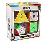 OJIN MoYu MOFANGJIAOSHI Cubing Classroom MFJS Speed Cube Bundle Megaminx & Skewb & Square-1 & Pyramid Bright Magic Cube con Paquete de Regalo + Cuatro Cubos trípodes (Sin Etiqueta)