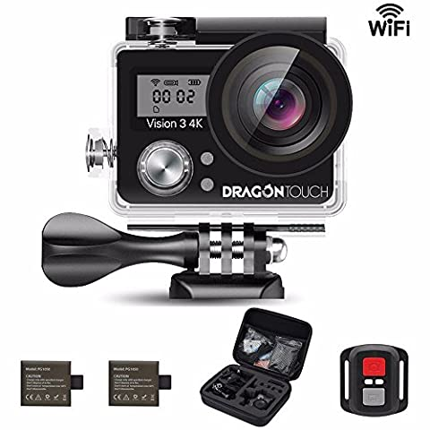 Dragon Touch Vision 3 4K WiFi Sports Action Camera Ultra HD Underwater DV Camcorder 16MP 170 Degree Wide 2 inch LCD Screen/ Remote Control/ Rechargeable Batteries/ 19 Mounting Kits