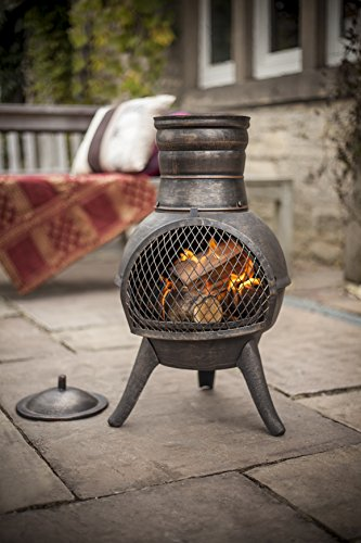 (free cover) La Hacienda Squat Bronze effect Cast Iron/Steel Mix Chiminea Patio Heater