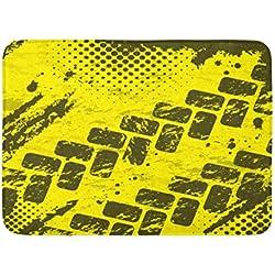 Soefipok Tapis de Bain Tapis de Porte extérieur/intérieur Voiture jauneTapis de Bain Tapis de Bain Décor Caterpillar pour Salle de Bain Route Pneus et Camion Sport