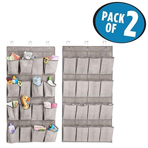 mDesign Juego de 2 armarios de tela para colgar – Práctico organizador colgante con 16 bolsillos – Perchero de puerta para artículos de bebé – Color: gris