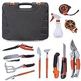 12-teiliger Garten Werkzeug Set, Gartengeräte Handwerkzeug im Tragekoffer, hochqualitativ robust...