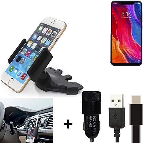 K-S-Trade® Top Set Compatibile con Xiaomi Mi8 Youth + Caricabatteria Supporto Slot CD Smartphone per Auto Dispositivi di Navigazione Montaggio Autoradio Titolare Staffa Compatibile con Xiaomi Mi8